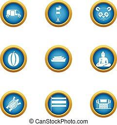 Asiatic icons set, flat style - Asiatic icons set. Flat set...