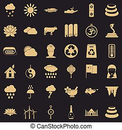 Asiatic icons set, simple style - Asiatic icons set. Simple...