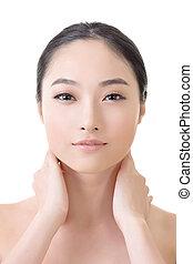 asiatico, bellezza, faccia