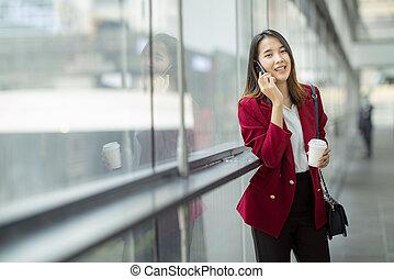asiatico, bevanda, chiamata, caffè, telefono, rilassare, ragazza, lei, cliente, far male