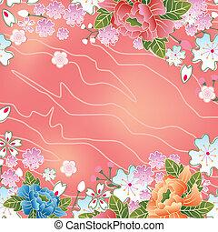 asiatico, ciliegia fiorisce, cornice
