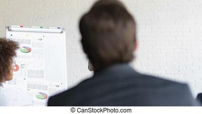 asiatico, donna d'affari, altoparlante, su, presentazione,...