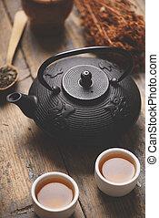 asiatico, insieme tè