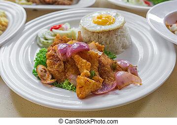 asiatico, mescolare-fritto, disposizione, piccante, dolce, riso, lato, appartamento, cinese, uovo, cibo, soleggiato, fish