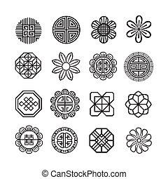 asiatico, ornamento, icona, coreano, cinese, giapponese, vettore, set