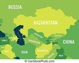 asiatico, paese, fondo., colorato, asia, scuro, oceano, capitale, alto, mappa, mare, -, politico, centrale, dettagliato, tonalità verde, nomi, regione, etichettare