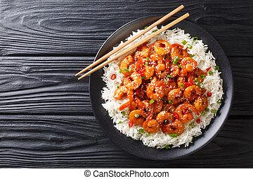 asiatico, pepe, peperoncino, verde, orizzontale, servito, semi, cibo, riso, sesamo, fritto, close-up., aglio, vista superiore, cipolle, gamberetto