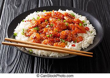 asiatico, pepe, verde, orizzontale, peperoncino, semi, cibo, riso, sesamo, cipolle, fritto, close-up., aglio, servito, gamberetto