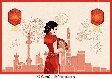 asiatico, (qi, cinese, fondo, giovane, pao), contro, abbigliamento, rosso, tradizionale, donna, città