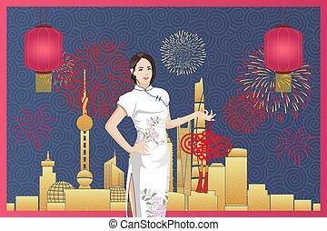asiatico, (qi, cinese, sfondo bianco, giovane, pao), contro, abbigliamento, tradizionale, donna, città