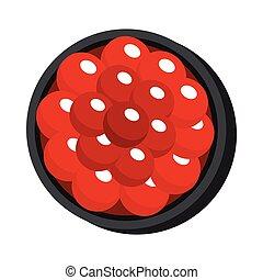 asiatico, sushi, cibo, illustrazione, in, cartone animato, stile