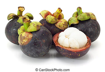 asiatico, tropicale, mangosteen, frutta, bianco, fondo