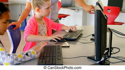 asiatique, école, femme, schoolkids, enseignement, 4k, prof, informatique
