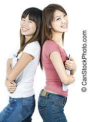 asiatique, étudiants, collège