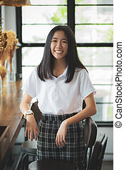 asiatique, adolescent, toothy, sourire, oeil, figure,...