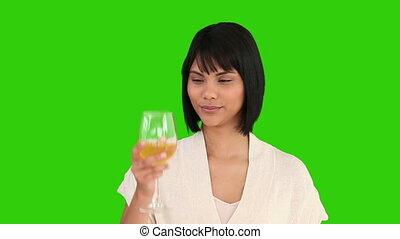 asiatique, apprécier, gentil, verre vin, blanc, femme