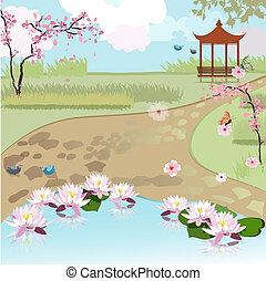 asiatique, beau, paysage