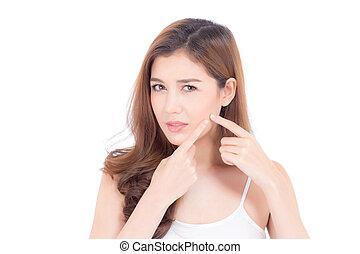 asiatique, beauté, femme, beau, acné, problème, isolé, girl, zit, blanc, peau, concept., parfait, fond, traitement, wellness, healthcare, portrait, figure