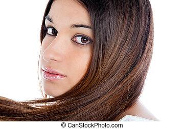 asiatique, brunette, indien, femme, à, longs cheveux, closeup