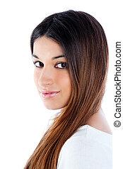 asiatique, brunette, indien, femme, à, longs cheveux
