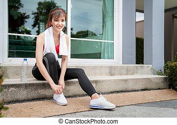 asiatique, chaussure, girl, dentelles, attachement
