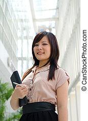 asiatique, chinois, étudiant féminin, dans, usage formel, a, portrait, de, une, asiatique, étudiant université, sur, campus