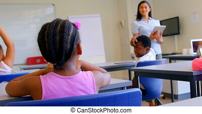 asiatique, classe, école, femme, schoolkids, enseignement, 4k, prof