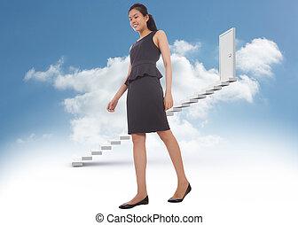 asiatique, composite, marche, femme affaires, image