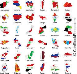 asiatique, drapeaux, dans, carte, forme, à, détails