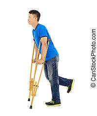 asiatique, fond, crutches., homme, blanc, longueur, entiers, jeune