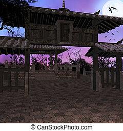 asiatique, fond, temple