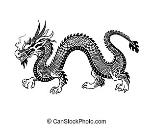 asiatique, illustration., caractère, chinois, tradition japonaise, dragon, ou