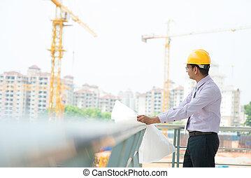 asiatique, indien, architecte, à, site construction