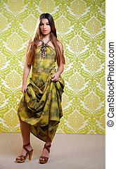 asiatique, indien, femme, à, long, robe ethnique