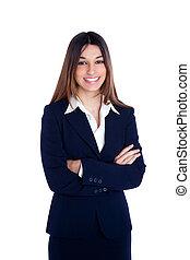 asiatique, indien, femme affaires, sourire, à, procès bleu