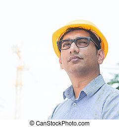 asiatique, indien, ingénieur, portrait