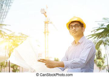 asiatique, indien, mâle, entrepreneur, ingénieur, inspection, à, site
