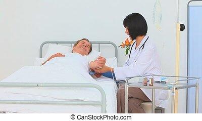 asiatique, infirmière, sanguine, prendre, pressu