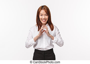 asiatique, intelligent, farce, intéressant, doigts, avoir, ...