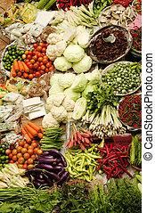 asiatique, légumes frais, marché