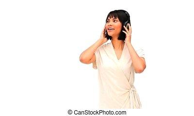 asiatique, musique, femme, écouteurs, écoute