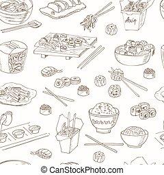 asiatique, nourriture., décoratif, nourriture chinoise, icônes, seamless, pattern.