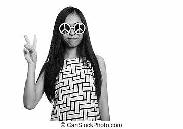 asiatique, paix, quoique, girl, adolescent, signe, jeune, lunettes soleil, porter, donner