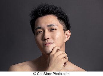 asiatique, portrait, closeup, homme, séduisant, figure, jeune
