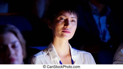 asiatique, séminaire, business, auditorium, femme affaires, 4k, assister