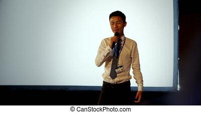 asiatique, séminaire, business, auditorium, homme affaires, 4k, parler, jeune