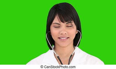 asiatique, stéthoscope, infirmière