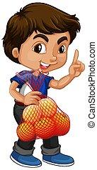 asiatique, tenue, debout, garçon, cheveux, fruits rouges, position
