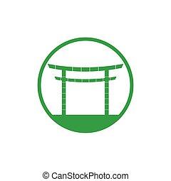 asiatique, vecteur, bambou, logo, portail