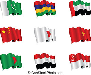 asiatisch, flaggen